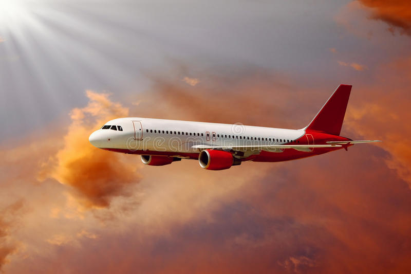 Airplane in air stock image