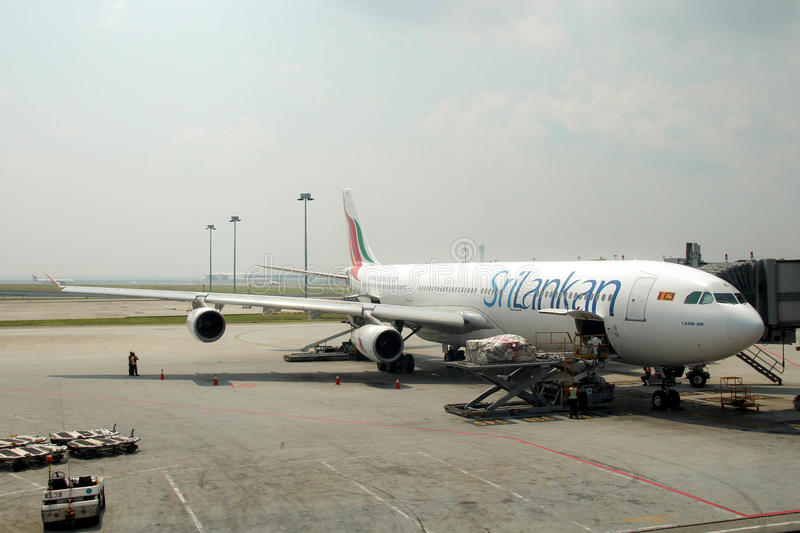 Airplane Airbus 340-300 of SriLankan Airlines stock photos
