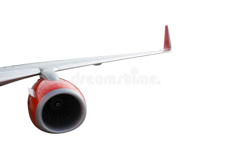 Airplane or aircraft wing with single jet engine isolated on white background with clipping path.  royalty free stock photography