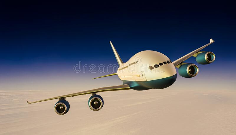 Airplane or airliner or aircraft in flight over sea of clouds front view at dusk or evening. Travel, transportation or transport royalty free stock image