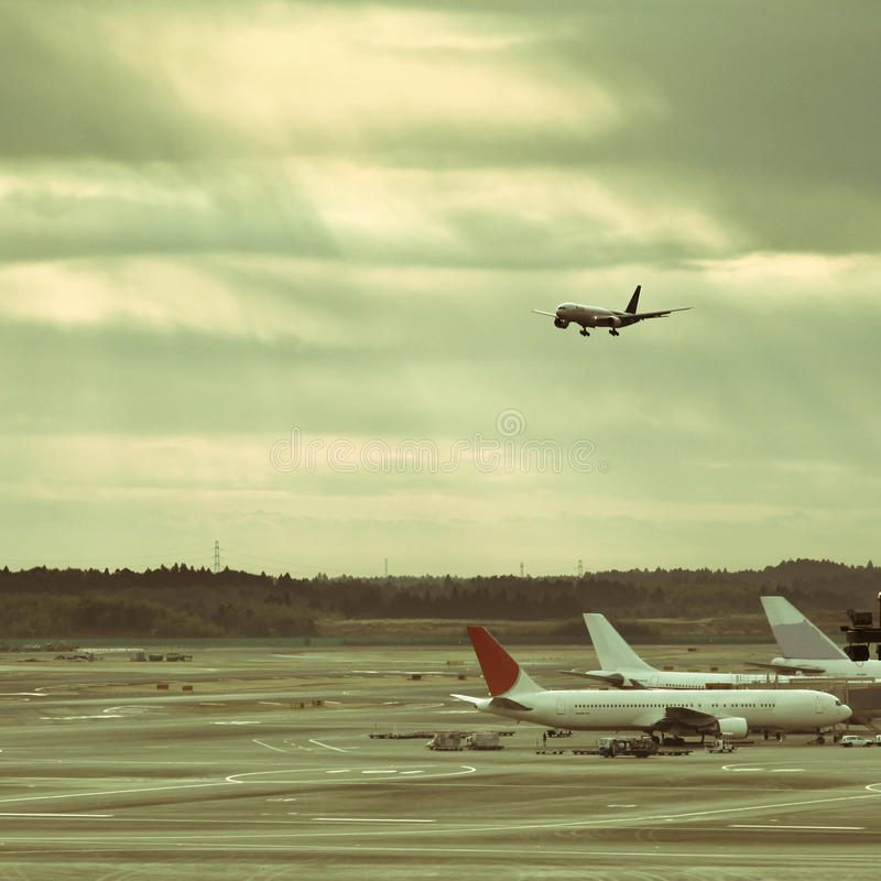 Airplane of airport. Airplane is waiting for departure in pudong airport shanghai china stock images