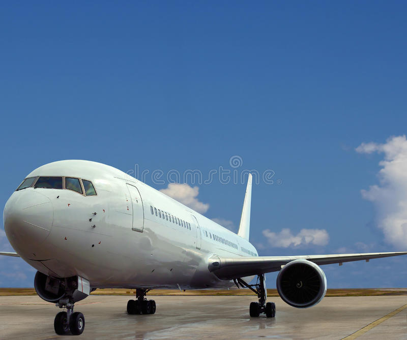Airplane on airport. Beauty of power & confidence. stock photo