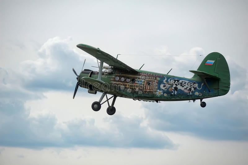 Airplane antonov an2. Exhibition Historical airplane Antonov An-2 from Russia stock images