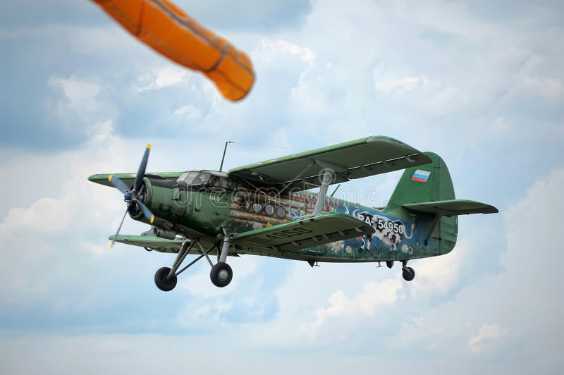 Airplane antonov an2. Exhibition Historical airplane Antonov An-2 from Russia stock image