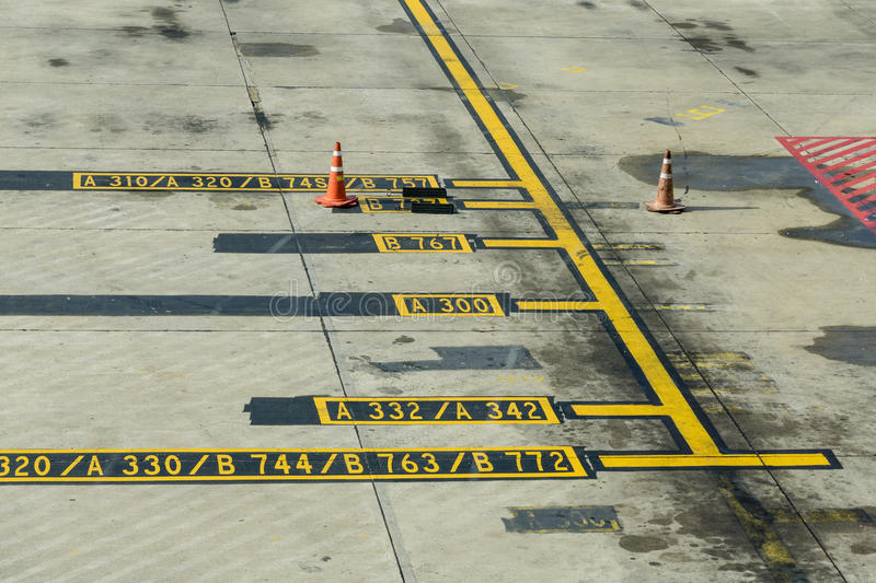 Airplane Apron Markings royalty free stock photo