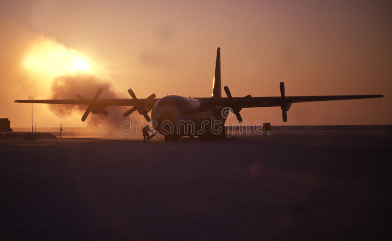 Airplane in arctic stock images