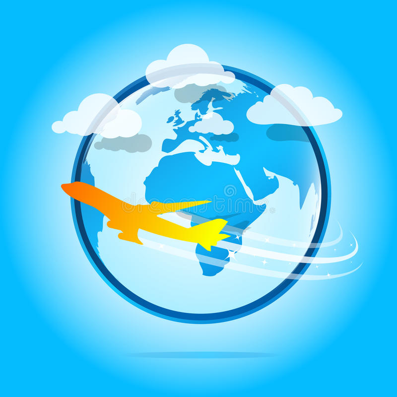 Download Airplane around the world stock vector. Image of network - 15660296