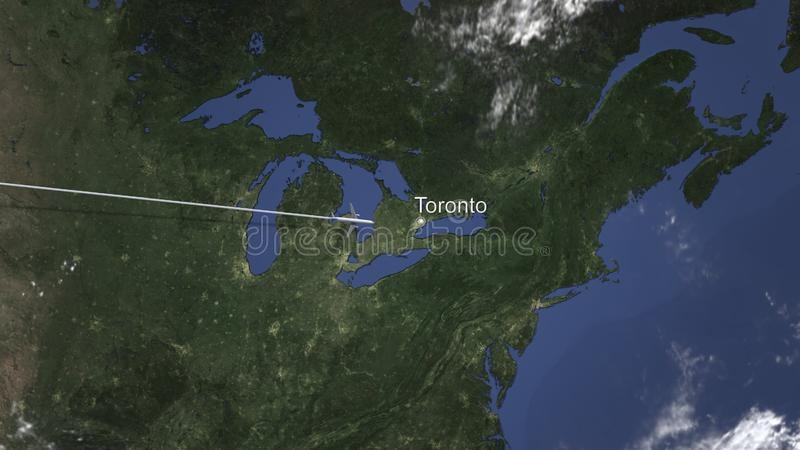Airplane flying to Toronto, Canada on the map. 3D rendering. Airplane arrives to city. 3D vector illustration