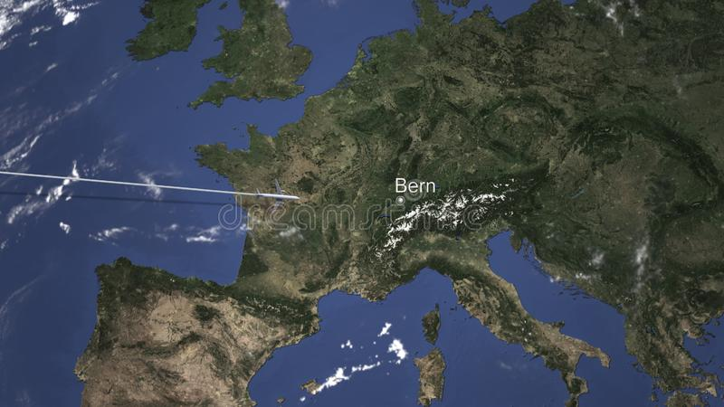 Route of a commercial plane flying to Bern, Switzerland on the map. 3D rendering royalty free illustration