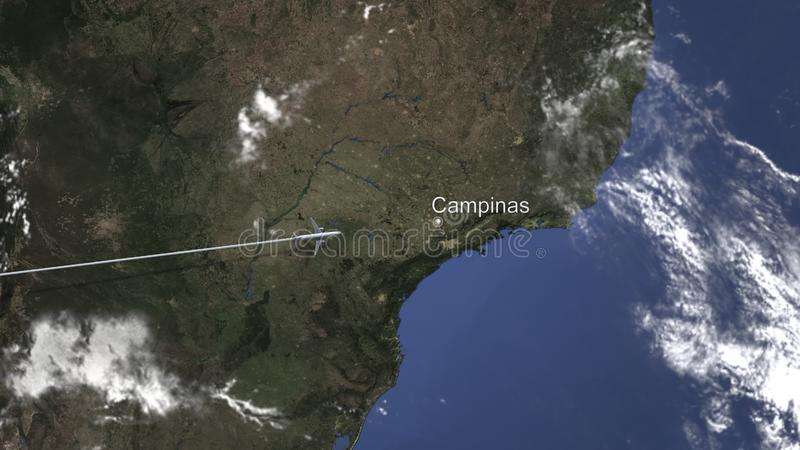 Route of a commercial plane flying to Campinas, Brazil on the map. 3D rendering royalty free illustration
