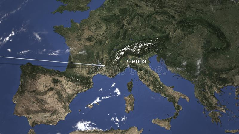 Route of a commercial plane flying to Genoa, Italy on the map. 3D rendering stock illustration