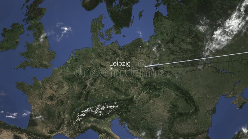 Route of a commercial plane flying to Leipzig, Germany on the map. 3D rendering royalty free illustration