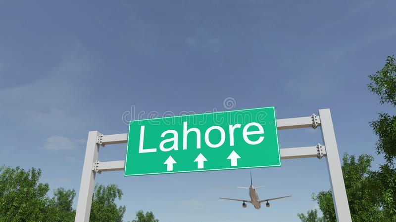 Airplane arriving to Lahore airport. Travelling to Pakistan conceptual 3D rendering stock images