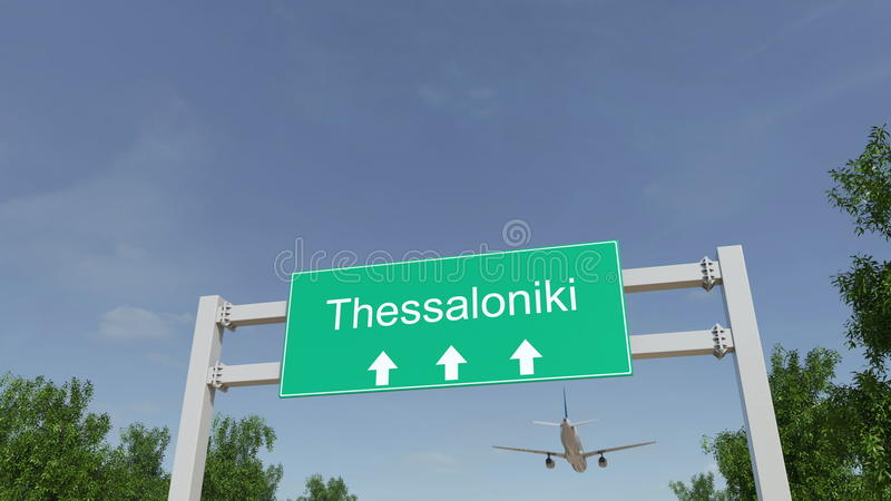 Airplane arriving to Thessaloniki airport. Travelling to Greece conceptual 3D rendering stock photo