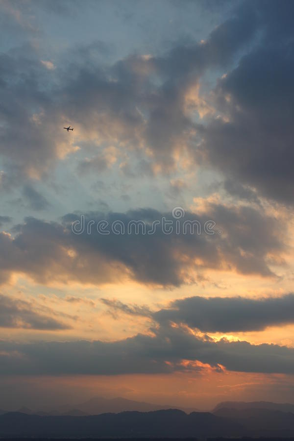 Airplane. Flying dream dreams clouds mountains Slovenia Alps royalty free stock photos