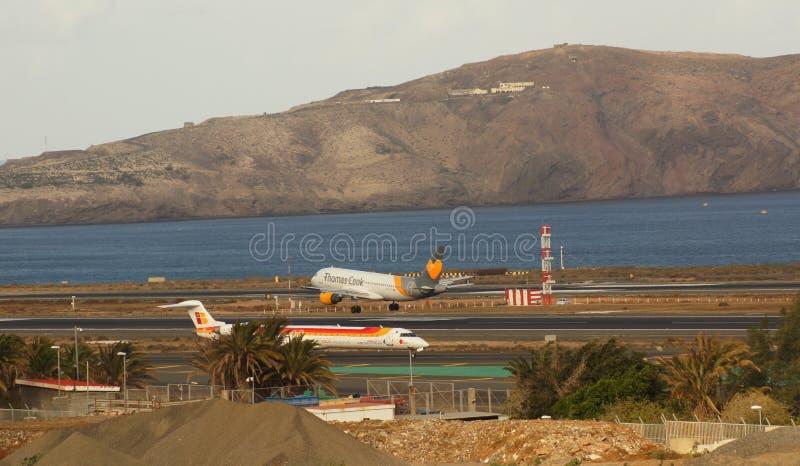 Airplane, Aviation, Runway, Sky stock image