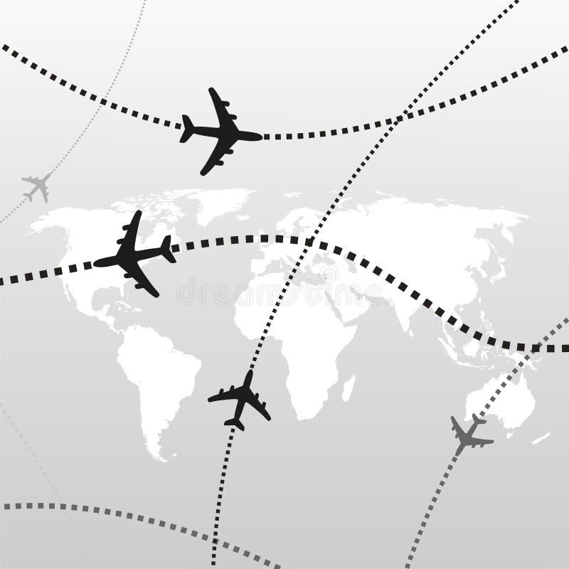 Airplane backgorund. Airport travel destinations on grey