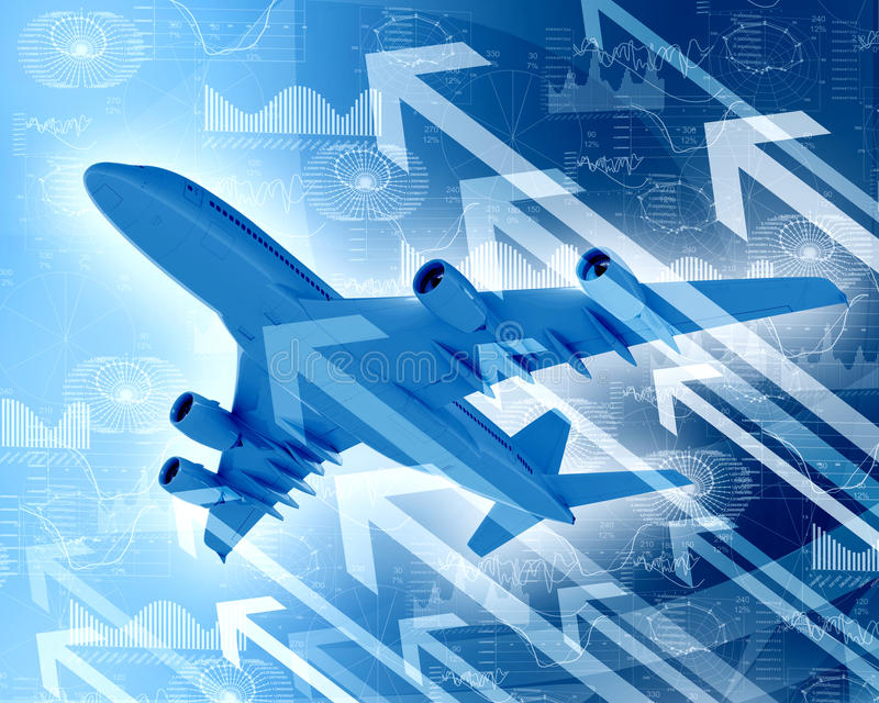 Airplane With The Background Of Graphs And Arrows Stock Illustration
