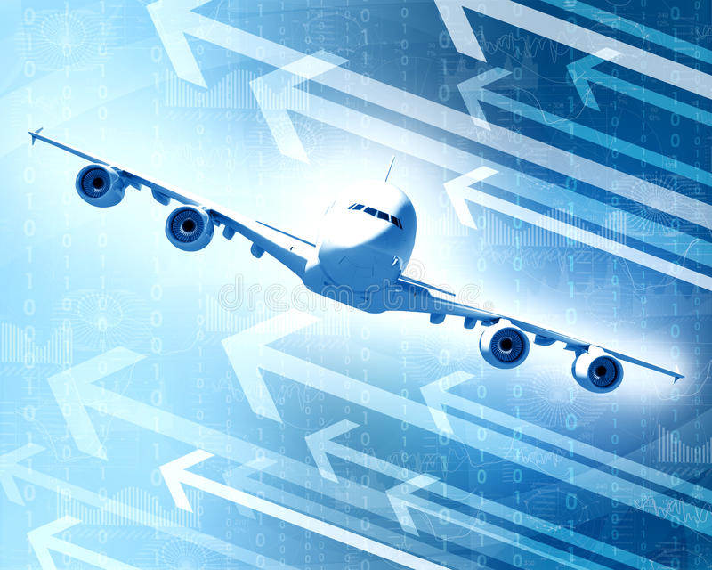 Download Airplane With The Background Of Graphs And Arrows Stock Illustration - Image: 41427429