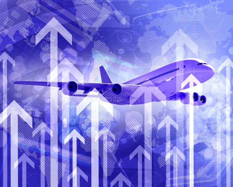 Download Airplane With The Background Of Graphs And Arrows Stock Illustration - Image: 41427446