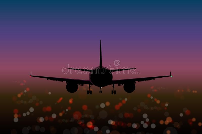 Airplane On The Background Lights Of The City Bokeh Effect Top View At Sunset Stock Illustration Illustration Of Airport Blurred 139625561
