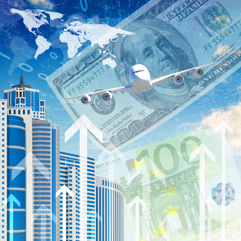 Download Airplane With Background Of Skyscrapers And Arrows Stock Illustration - Image: 41427538