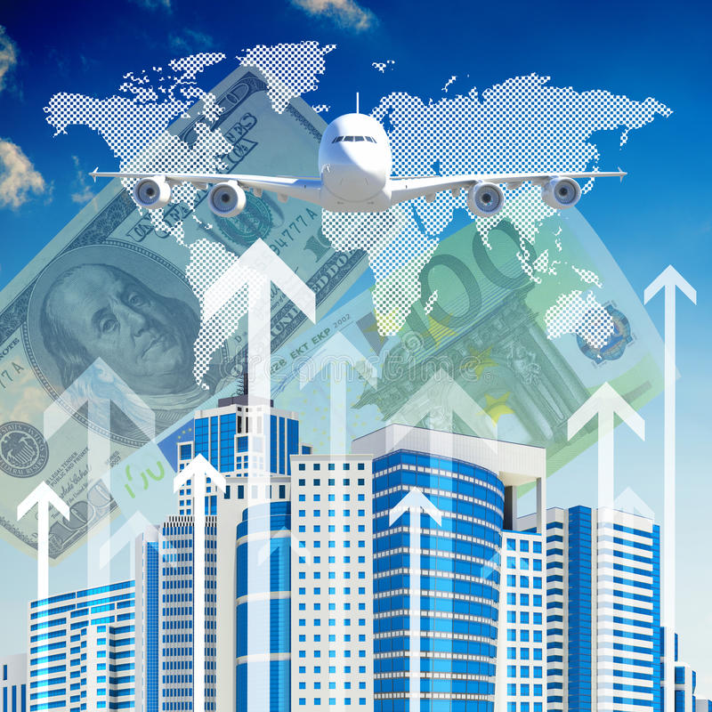 Download Airplane With Background Of Skyscrapers And Arrows Stock Illustration - Image: 41427607