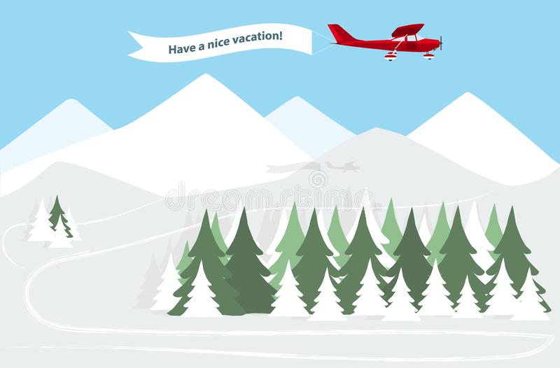 Airplane with banner. Over winter mountains resort royalty free illustration
