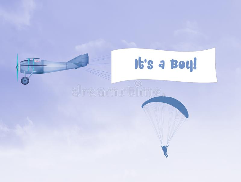 Airplane with banner for baby boy 皇族释放例证