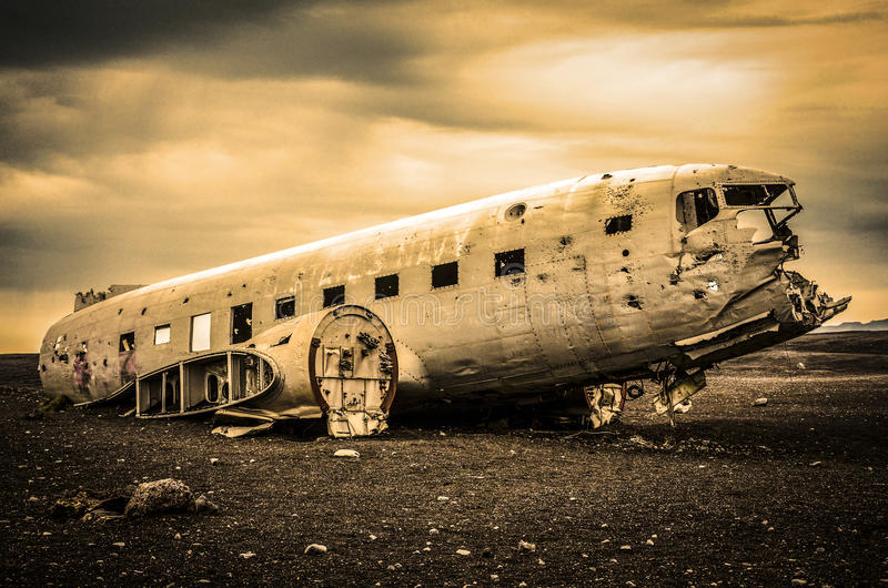 Airplane on the beach, Vik, Iceland royalty free stock image