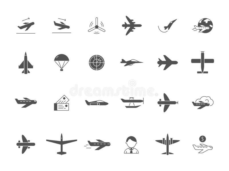 Airplane black icons. Jet aircraft military forces and civil aviation travel vector symbols. Airplane aviation, aircraft and flight transportation, travel stock illustration