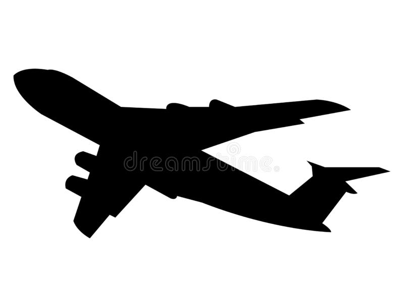 Airplane black silhouette, isolated on white background vector illustration