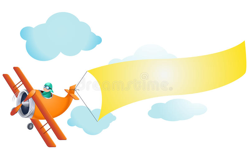 Airplane with Blank Sign vector illustration