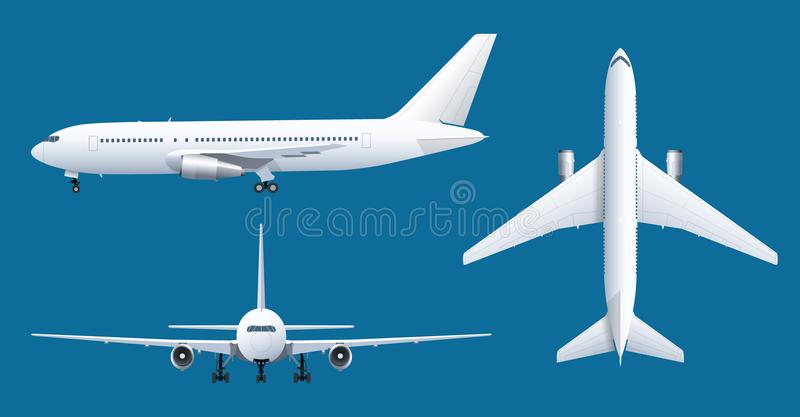 Airplane on blue background. Industrial blueprint of airplane. Airliner in top, side, front view. Flat style vector. Illustration stock illustration