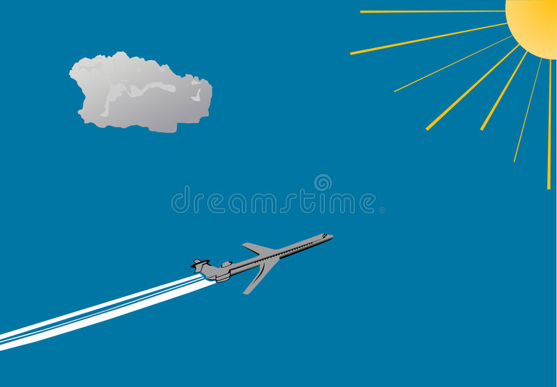 Airplane, blue sky and sun stock illustration