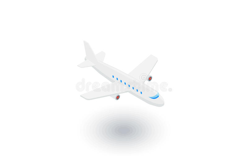 Airplane, boeing plane, travel isometric flat icon. 3d vector royalty free illustration