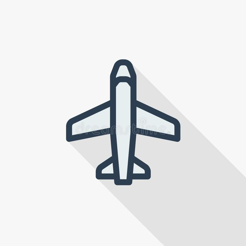 Airplane Boeing Plane Travel Thin Line Flat Color Icon Linear