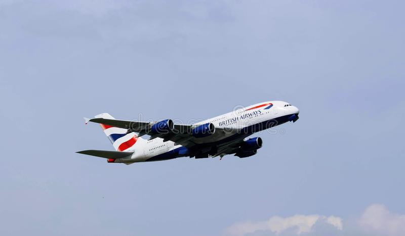 Airplane of British airways stock photo