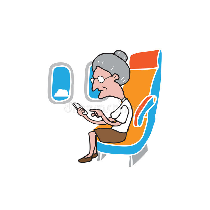 Airplane cabin passenger old woman smart phone vector illustration