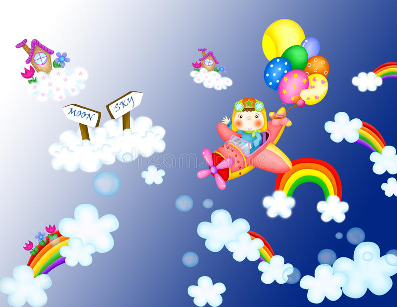 Airplane cartoon. Relative image to a pilot that brings airplane among clouds and rainbows on backgrounds blue gradient stock illustration