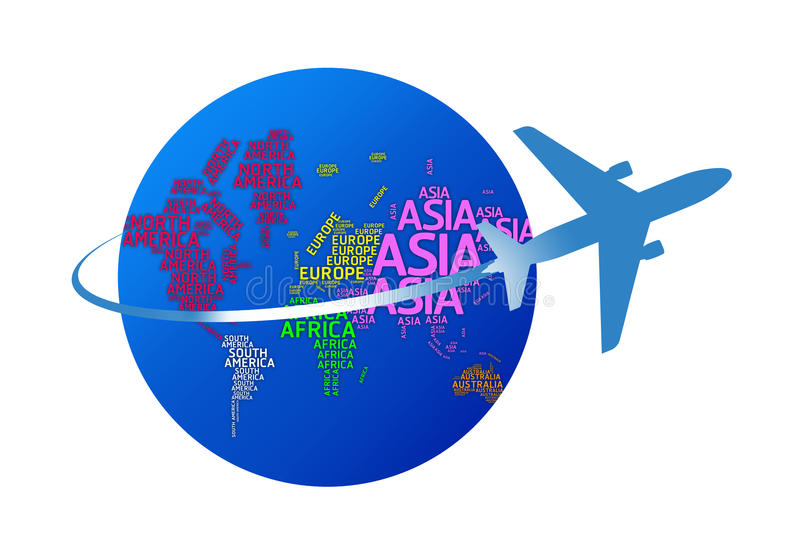 Airplane circling the globe with names of continents. isolated w stock image