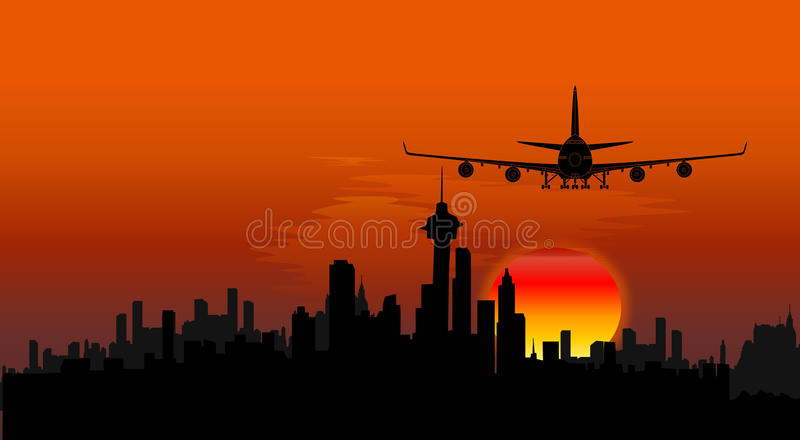 Airplane on cityscape background