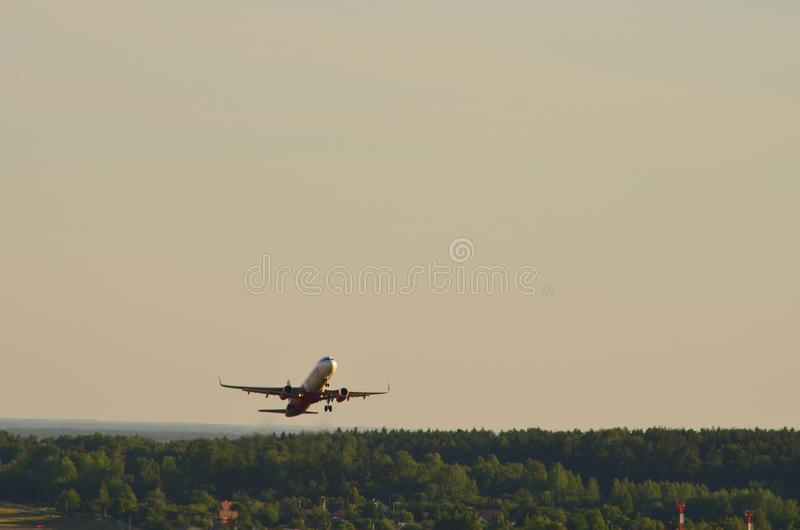 Airplane climb on the sky. Airplanes, jet, commercials, start royalty free stock photography