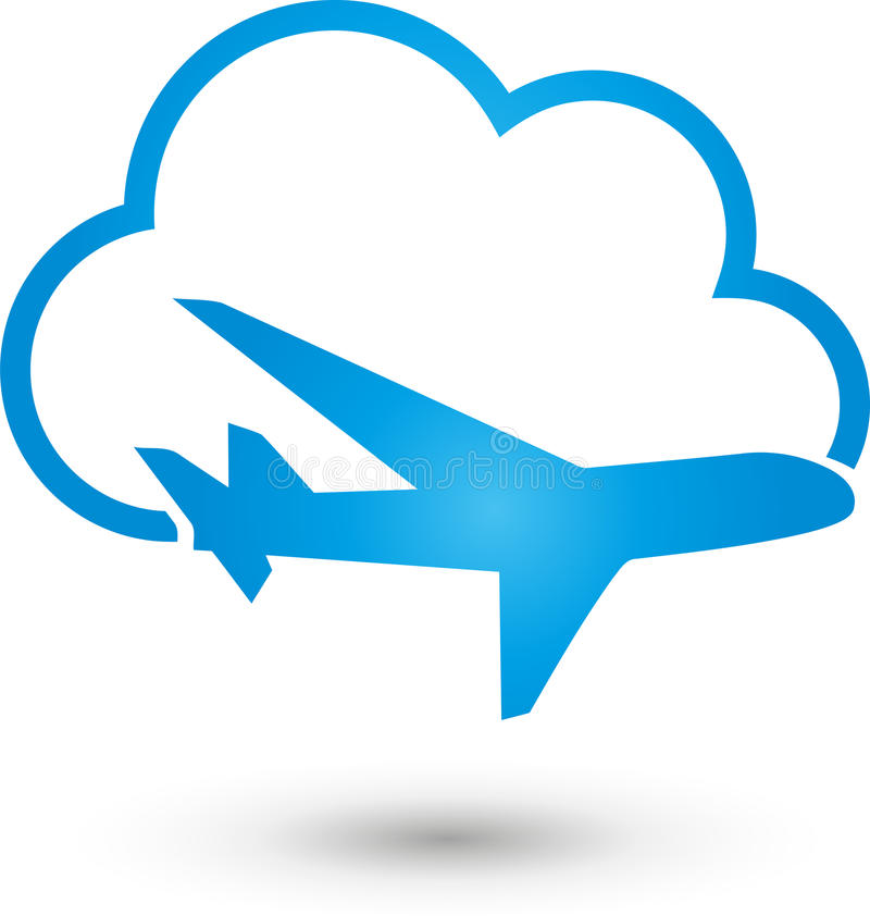 Airplane and cloud, airplane and travel logo. Airplane and cloud, colored, airplane and travel logo stock illustration