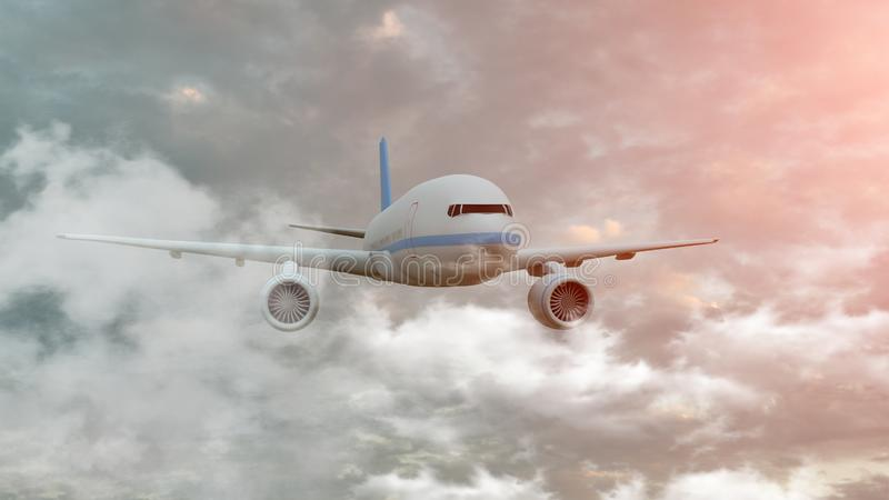 Airplane among clouds. The airplane is flying in cumulus clouds, front view. 3d illustration.  stock photos