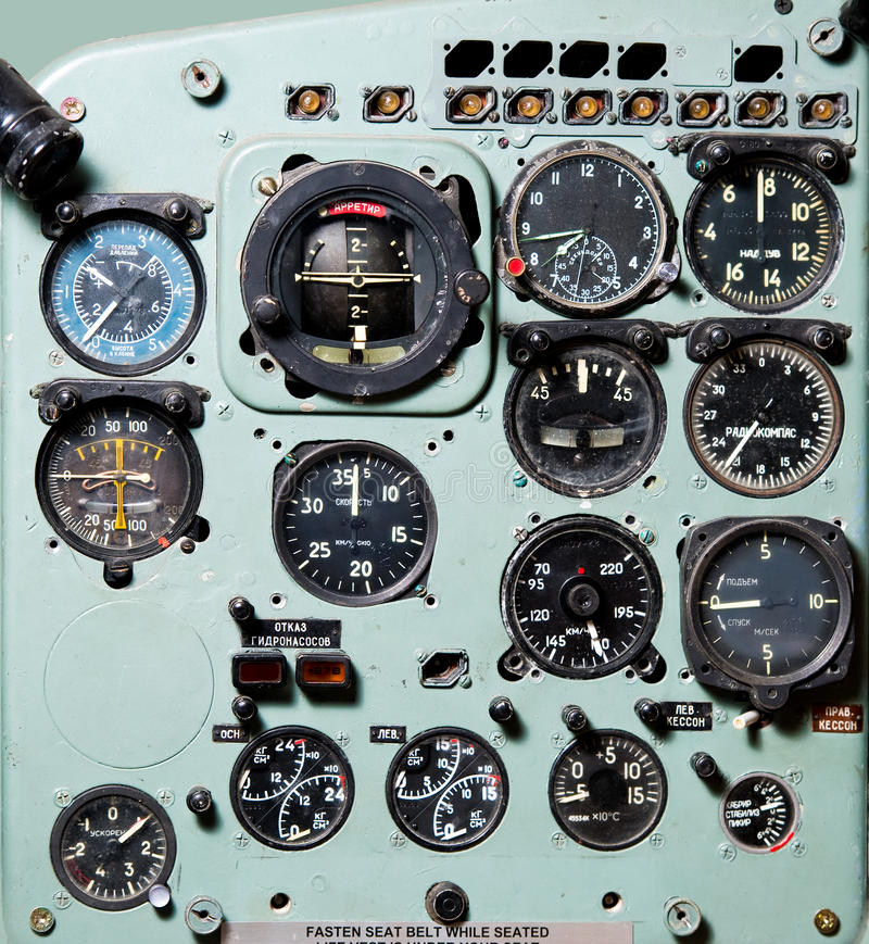 Airplane cockpit royalty free stock photography