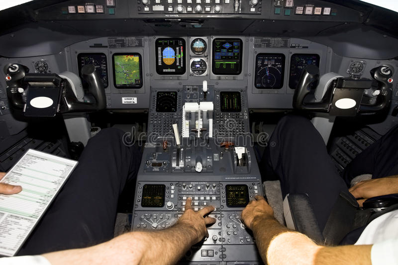 Airplane cockpit. During flight over atlantic stock image