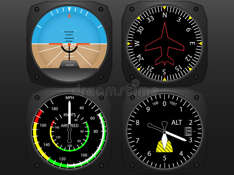Airplane cockpit flight instruments royalty free illustration