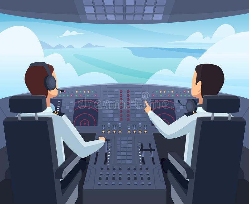 Airplane cockpit. Pilots sitting front of dashboard aircraft inside vector cartoon illustrations. Captain pilit flight, dashboard plane in cockpit vector illustration