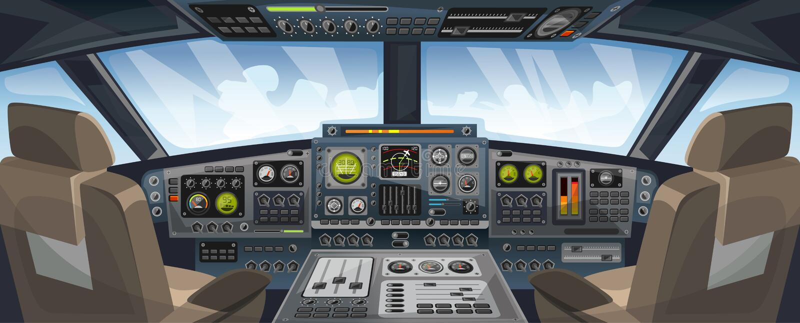 Airplane cockpit view with control panel buttons and sky background on window view. Airplane pilots cabin with dashboard control. And pilots chair for games stock illustration